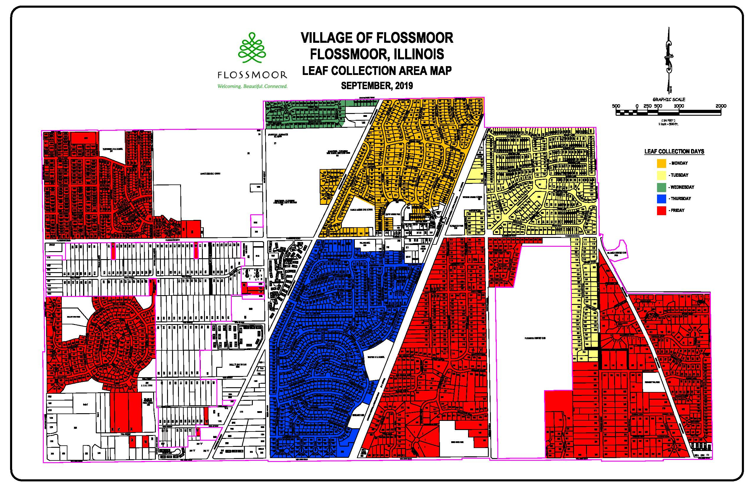 Flossmoor Leaf Collection Area Map
